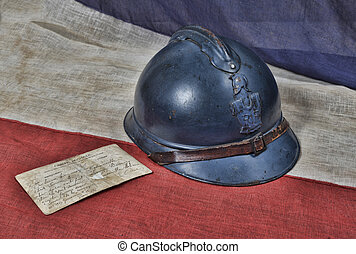 1914 helmet - 1914 french helmet with postcard of war