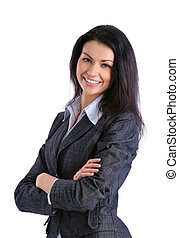 young business woman - Closeup portrait of a happy young...