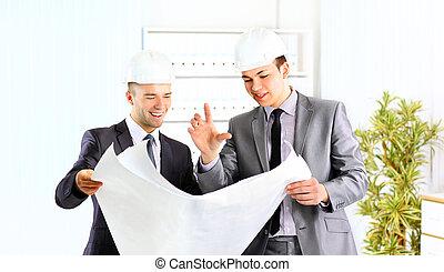 architect engineer two expertise team plan talking hardhat