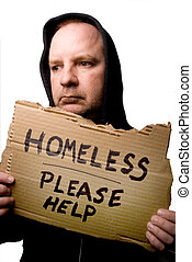 Homeless Man - A homeless man begging for some help