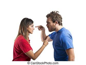 discusión, entre, marido, esposa