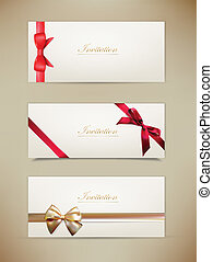 Collection of gift cards and invitations with ribbons. -...