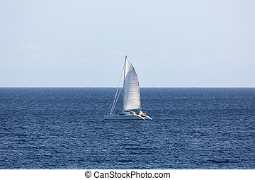 Catamaran Sailing - Catamaran sailing in the Atlantic Ocean