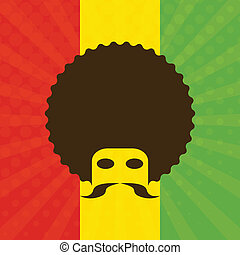 man with afro and flag of Ethiopia in background