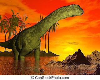 Argentinosaurus, Dinosaurio, ocaso, -, 3D, render