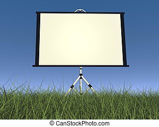Empty white projector screen - 3D render - Empty white...