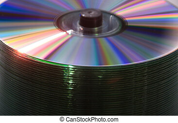 CDs spindle - Close-up on bulk blank spindle CDs