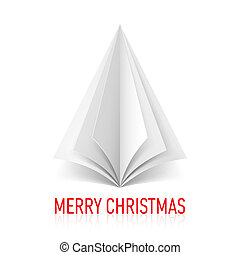 Paper Christmas tree. - Abstract white paper tree on white...