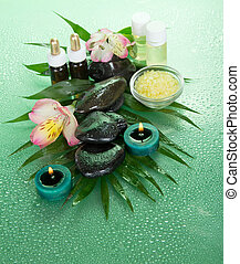 Aroma kit for SPA - Candles and aroma oil, salt, stones and...