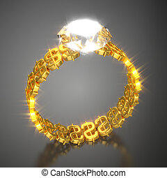 """Gold Ring """"Dollars and Diamond"""""""