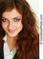 Closeup portrait of a beautiful happy businesswoman