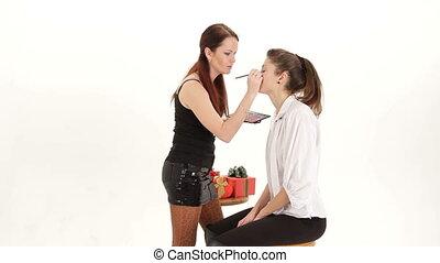 Applying eye make-up
