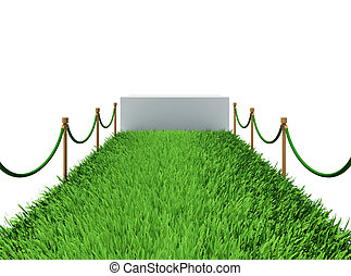 Path of green grass 3d rendering on white background