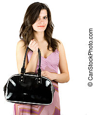Brunette with purse - Beautiful brunette with purse isolated...