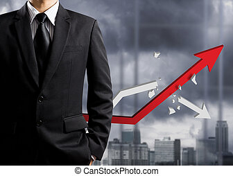 Business man with growth chart