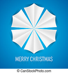 Paper snowflake. - Illustration of paper snowflake on blue...