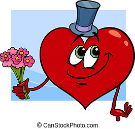 valentine heart with flowers cartoon - Cartoon Illustration...