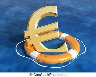 Saving the euro - Illustration of the sinking euro being...