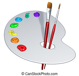 Isolated artist palette - Illustration of an isolated artist...