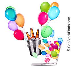 laptop, Cerveja, balões