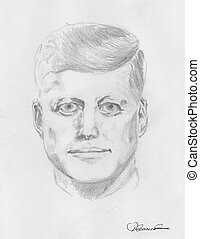 JFK - A pen drawing after a newspaper photo of JFK by me,...