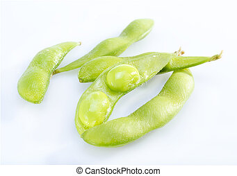 Soy beans - Fresh soy beans edamame on white background