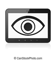 Safety concept: Eye on tablet pc computer