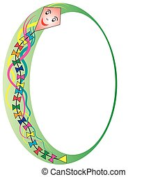 green oval frame with paper kite - Oval frame with colorful...