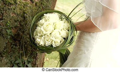 Bride With Bouquet - video footage of a bridal bouquet