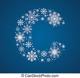 Letter C, vector font frosty snowflakes