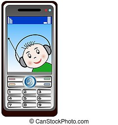 Mobil phone with baby looking - Vector illustration of a...