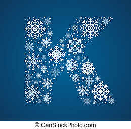 Letter K, vector font frosty snowflakes