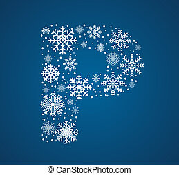 Letter P, vector font frosty snowflakes