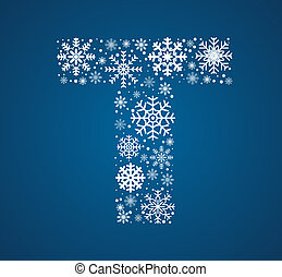 Letter T, vector font frosty snowflakes