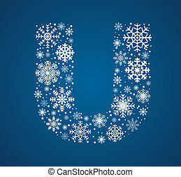 Letter U, vector font frosty snowflakes