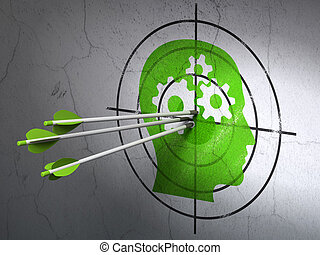 Business concept: arrows in Head With Gears target on wall...