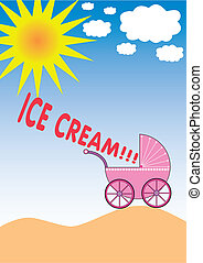 ice cream - buggy on a hill and a baby shouting ice cream