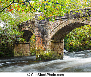 Newbridge Dartmoor Devon - Historic bridge of the River Dart...