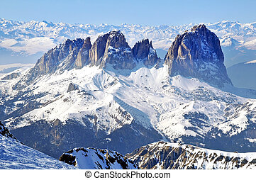 Snowy mountains in the Dolomites