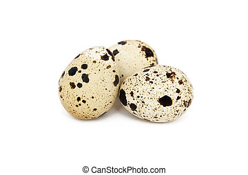 Quail eggs isolated on the white background