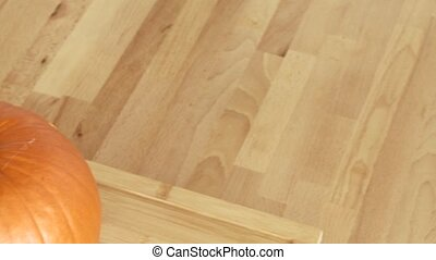 Woman prepares a Pumpkin - Video footage of cutting a...