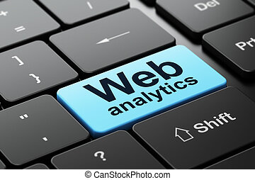 Web development concept: Web Analytics on computer keyboard...