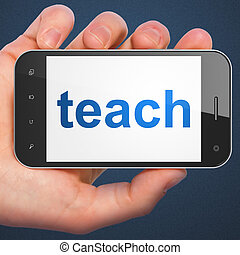 Education concept: Teach on smartphone - Education concept:...