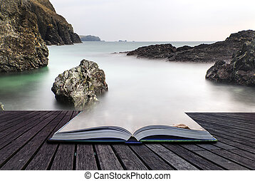 Creative concept pages of book Long exposure Kynance Cove...