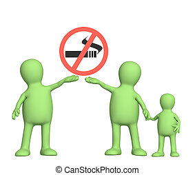No smoking - Family, calling to refuse smoking. Object over...