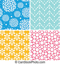 Four vibrant abstract geometric patterns and backgrounds -...