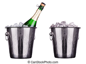 champagne ice bucket - champagne Metal ice bucket isolated...