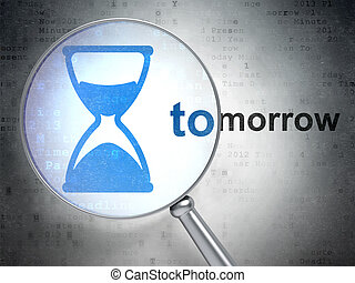 Time concept: Hourglass and Tomorrow with optical glass -...