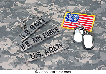 US military concept on camouflage uniform