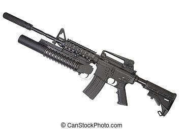 M4A1, carbine, silenciador, equipado, M203, granada,...